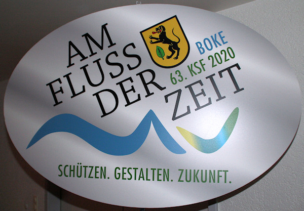 Mottoverkündung Kreisschützenfest 2020 - Logo. Am Fluss der Zeit