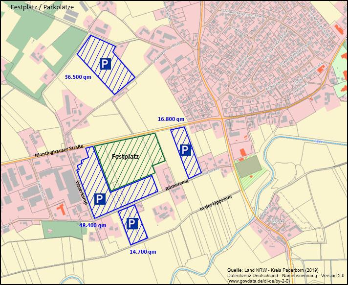 Festplatz und Parkplätze zum Kreisschützenfest 2020 in Boke