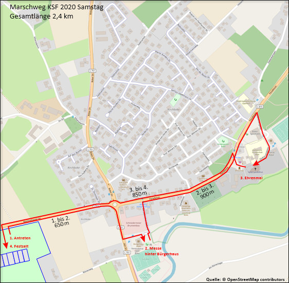 Marschweg am Samstag zum Kreisschützenfest in Boke